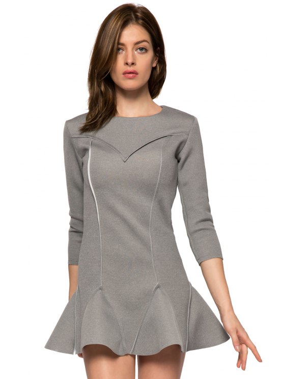 best Solid Color 3/4 Sleeve Splicing Dress - GRAY XS