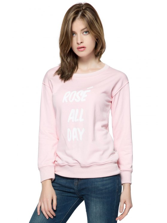 chic Pink Letter Print Long Sleeve Sweatshirt - PINK XS