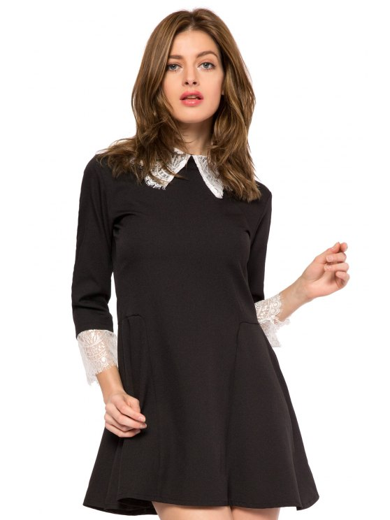 unique Lace Splicing Turn-Down Collar Dress - BLACK XS