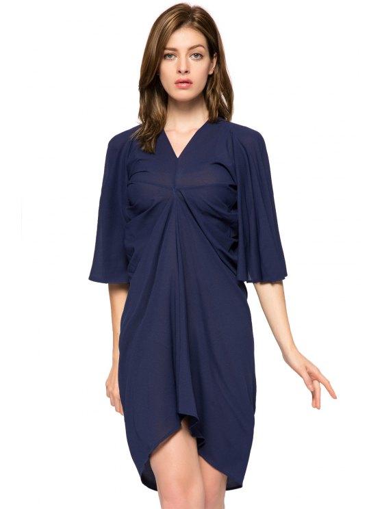 lady Solid Color Half Sleeve Irregular Dress - PURPLISH BLUE M