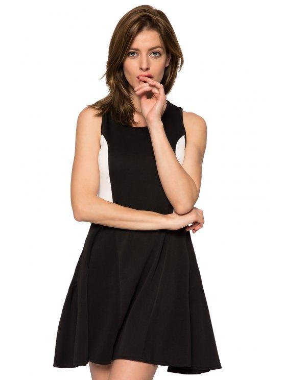 hot Color Block Jewel Neck Sundress - BLACK XS