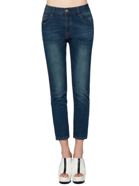 fancy Straight Leg Bleach Wash Jeans - DEEP BLUE 23