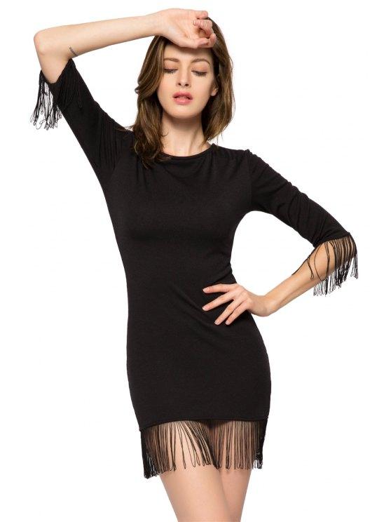 unique Black Fringe 3/4 Sleeve Dress - BLACK XS