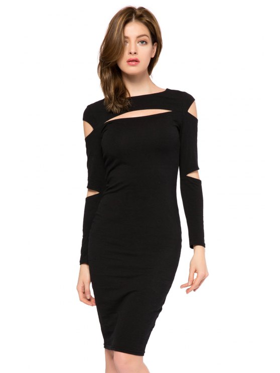 outfits Black Long Sleeve Hollow Out Dress - BLACK XS