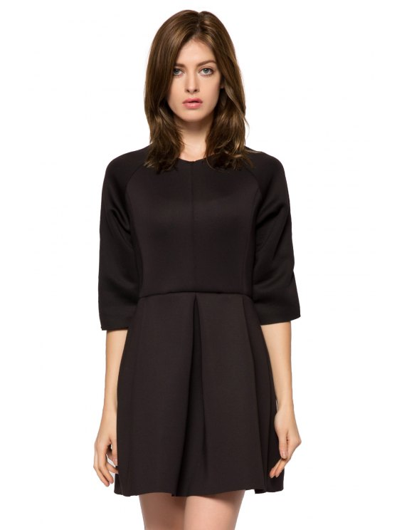 affordable Solid Color 3/4 Sleeve A-Line Dress - BLACK XS