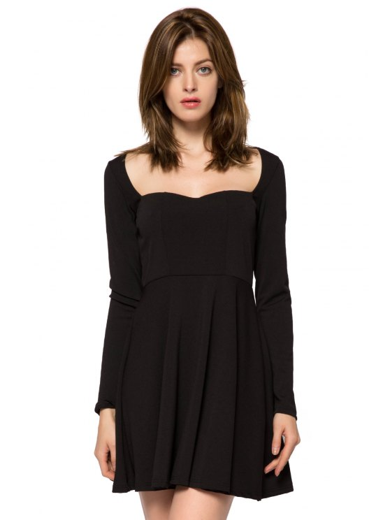 women's Long Sleeve Solid Color Backless Dress - BLACK XS