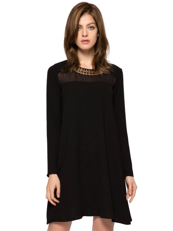 lady Long Sleeve Metal Embellished Dress - BLACK XS
