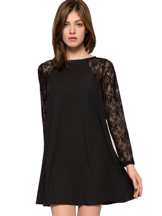 fancy Lace Splicing Long Sleeve Dress - BLACK XS