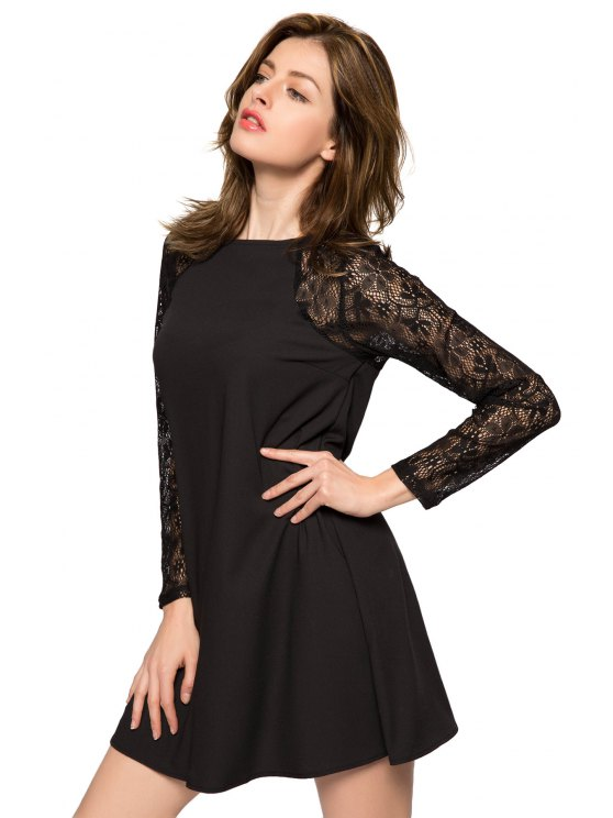 Lace Splicing Long Sleeve Dress - BLACK M Mobile