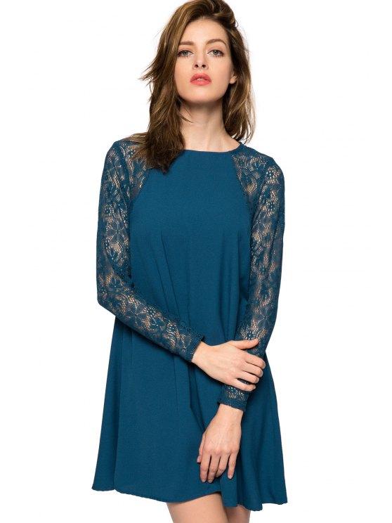 best Lace Splicing Long Sleeve Dress - BLUE XL