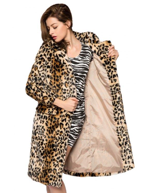 Leopard Print Faux Fur Coat - LEOPARD M Mobile