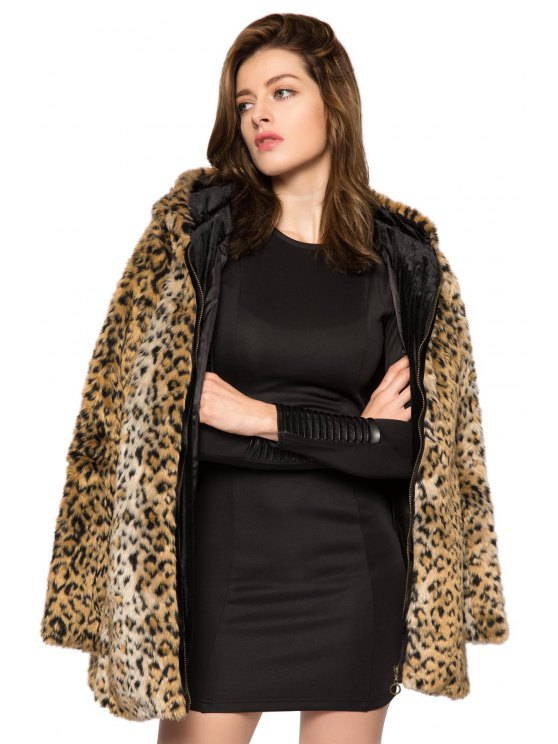 women Leopard Print Hooded Faux Fur Coat - LEOPARD XS