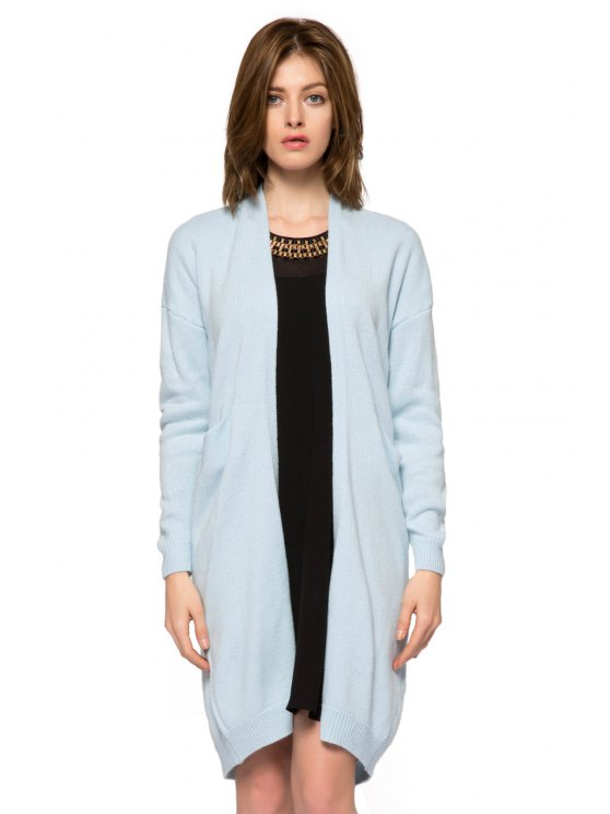 latest Solid Color Long Sleeve Slit Cardigan - BLUE XS