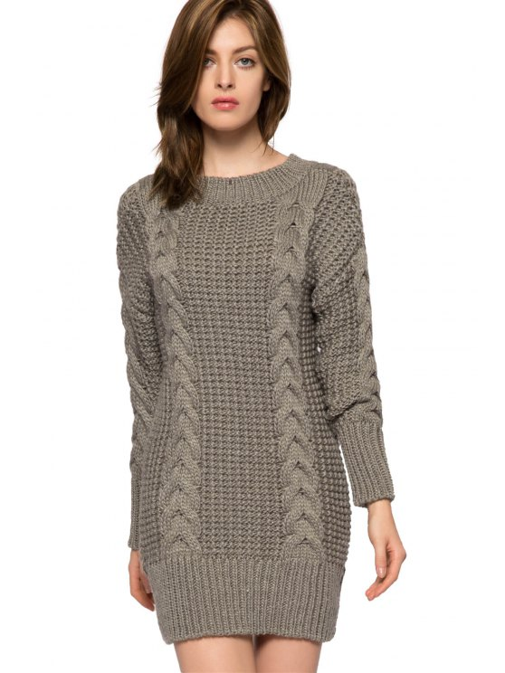 new Solid Color Cable-Knit Sweater Dress - GRAY XS