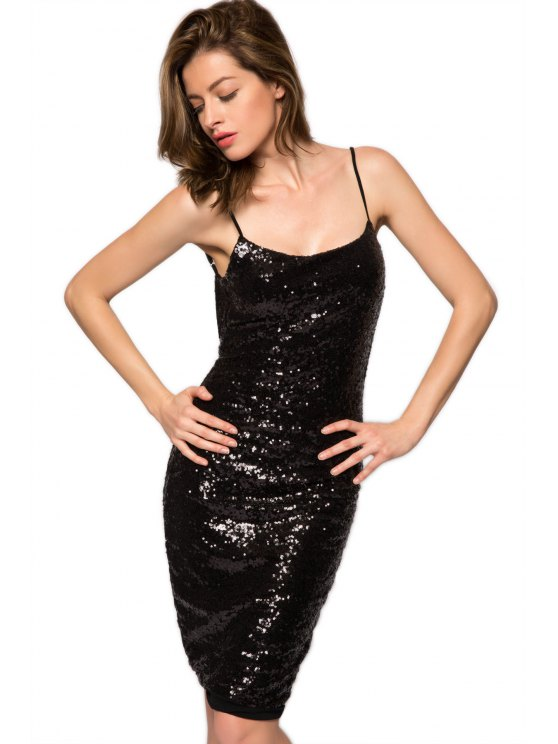 best Spaghetti Straps Sequins Backless Dress - BLACK XS