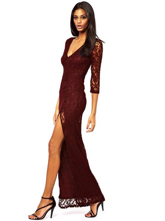 online Lace 3/4 Sleeve Side Slit Maxi Dress - PURPLE L