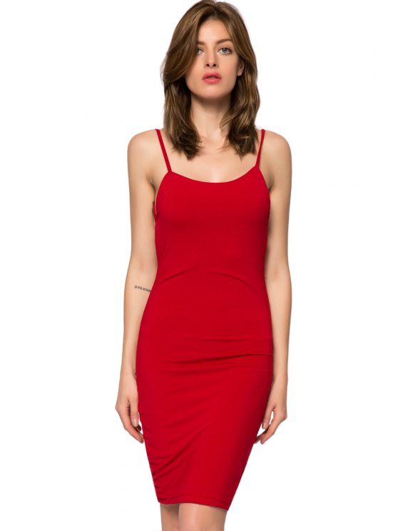 fashion Spaghetti Straps Backless Bodycon Dress - RED XS