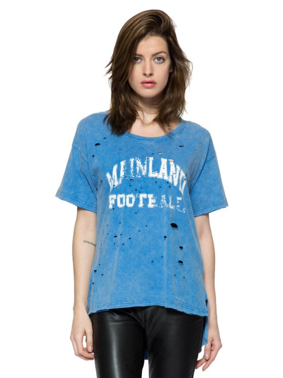 women Print Broken Hole Short Sleeve T-Shirt - BLUE XS