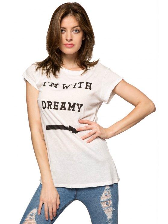 womens Letter Arrow Print Short Sleeve T-Shirt - WHITE S