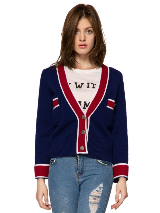 shop Plunging Neck Color Block Cardigan - BLUE S