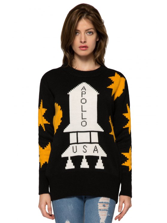 chic Rocket Pattern Long Sleeve Sweater - BLACK ONE SIZE(FIT SIZE XS TO M)