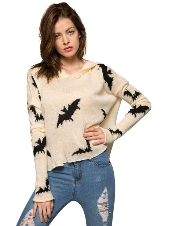 outfit Bat Pattern Hooded Sweater - WHITE S