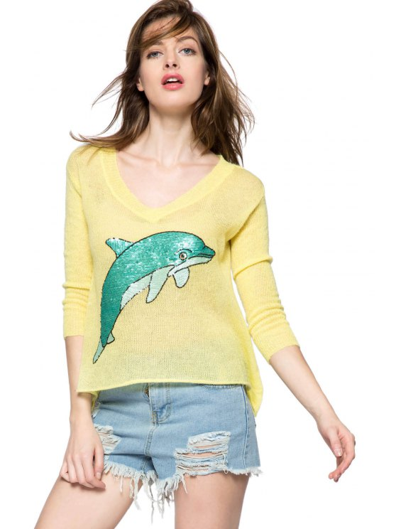 outfit Dolphin Pattern 3/4 Sleeve Sweater - YELLOW S