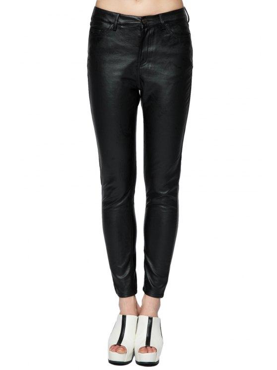 fancy Fuax Leather Narrow Feet Pants - BLACK 34