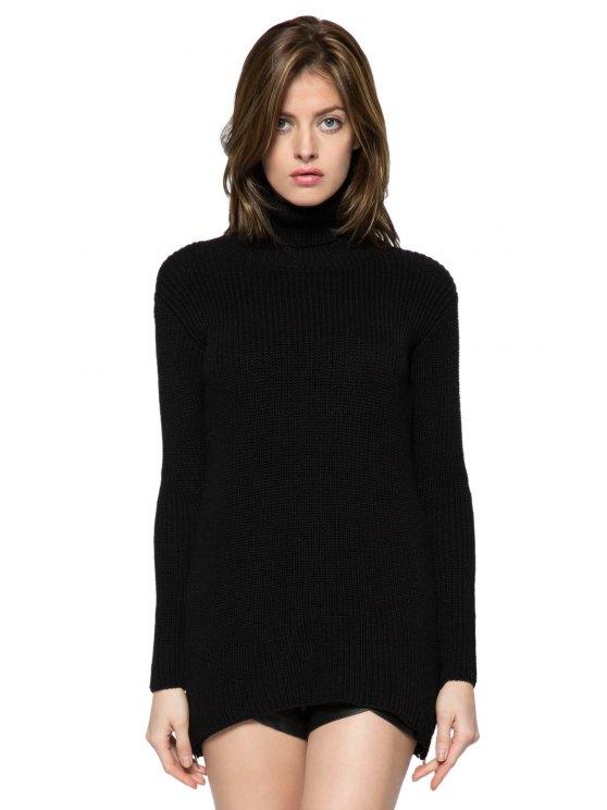 best Black Turtle Neck Zipper Sweater - BLACK XS