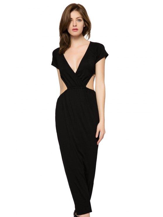 online Black Short Sleeve Backless Dress - BLACK XS
