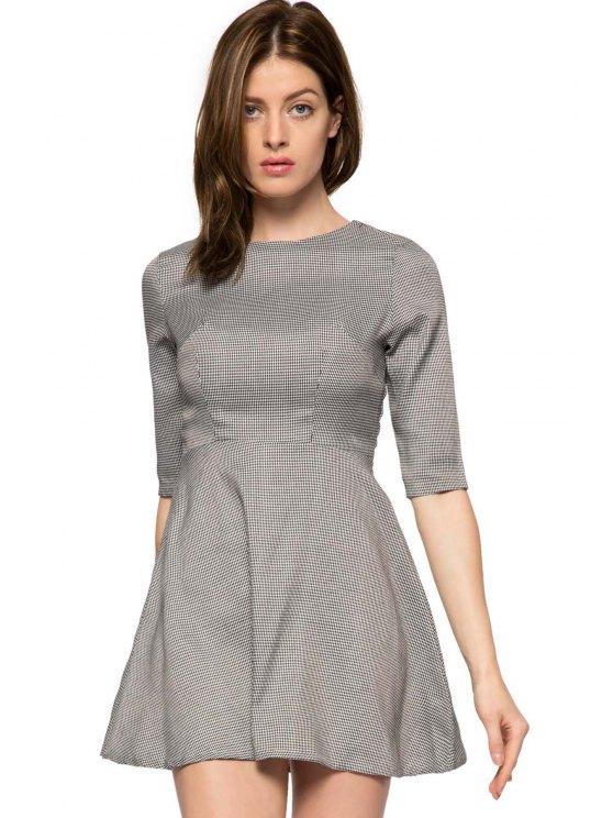 sale Houndstooth Half Sleeve A-Line Dress - GRAY XS