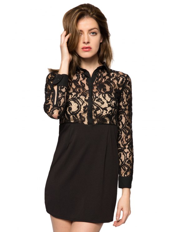 chic Long Sleeve Lace Splicing Dress - BLACK XS