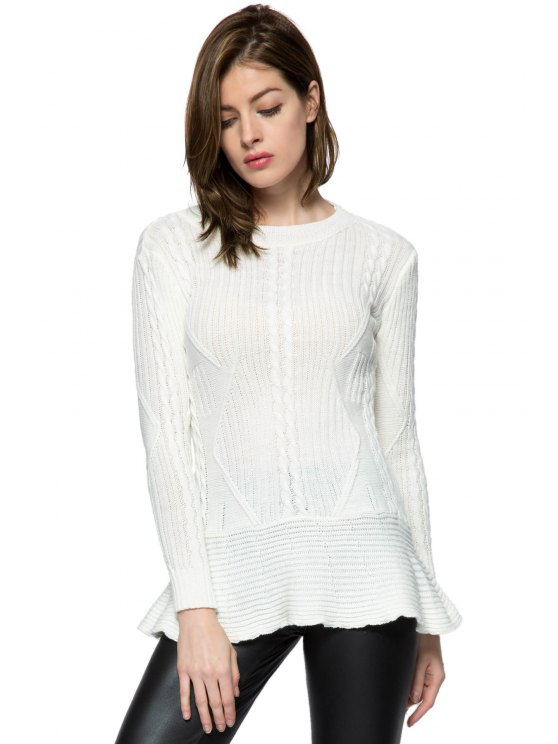 fashion Ruffles Splicing Solid Color Sweater - WHITE XS