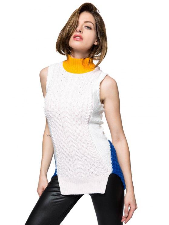 buy Color Blcok Sleeveless Slit Sweater - WHITE XS