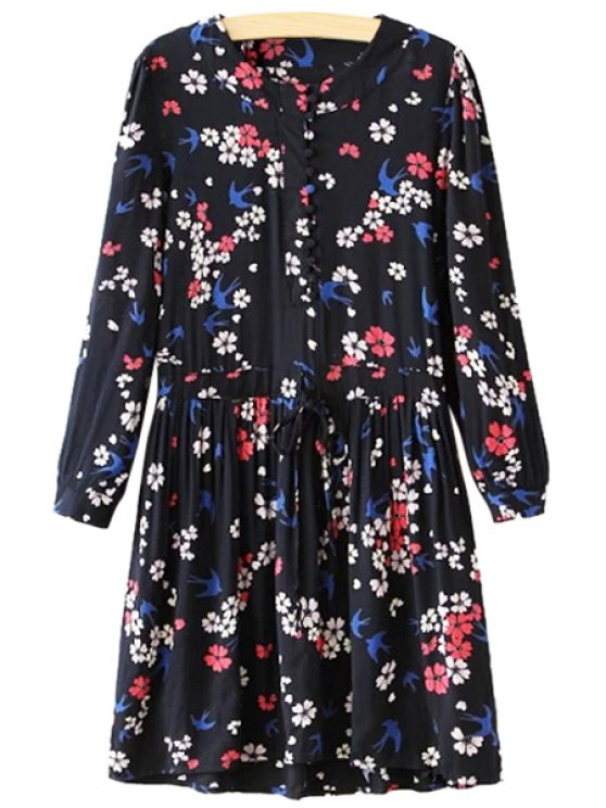 unique Tiny Floral Print Drawstring Dress - BLACK S