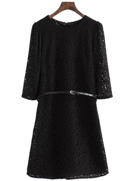 buy Half Sleeve Solid Color Lace Dress - BLACK S