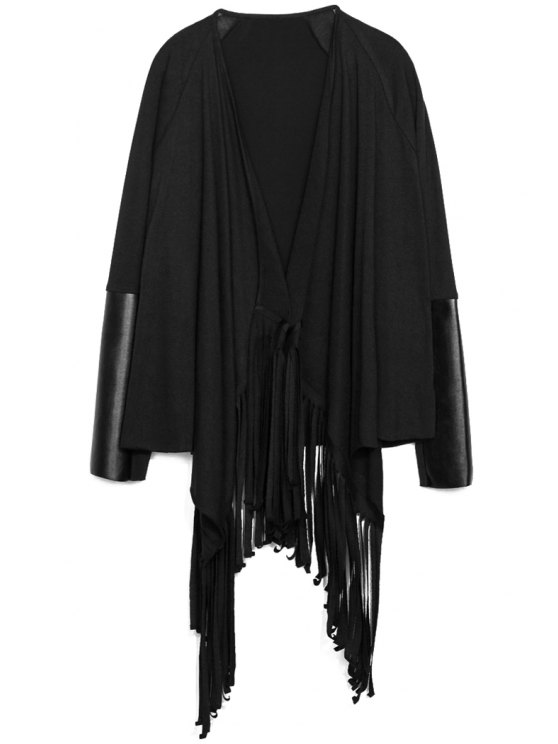 online Fringe PU Leather Splicing Cardigan - BLACK S