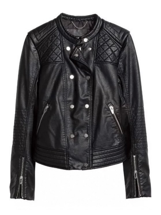 fancy PU Leather Double-Breasted Jacket - BLACK S