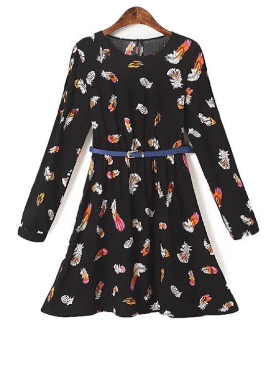 trendy Full Feather Print Long Sleeve Dress - BLACK S