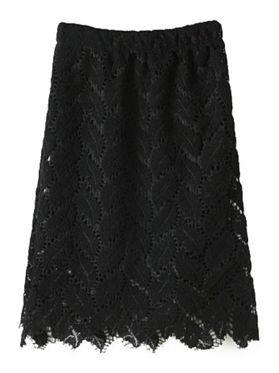 best Solid Color Hollow Out Skirt - BLACK ONE SIZE(FIT SIZE XS TO M)
