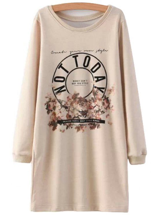 affordable Letter and Floral Print Dress - PINK S