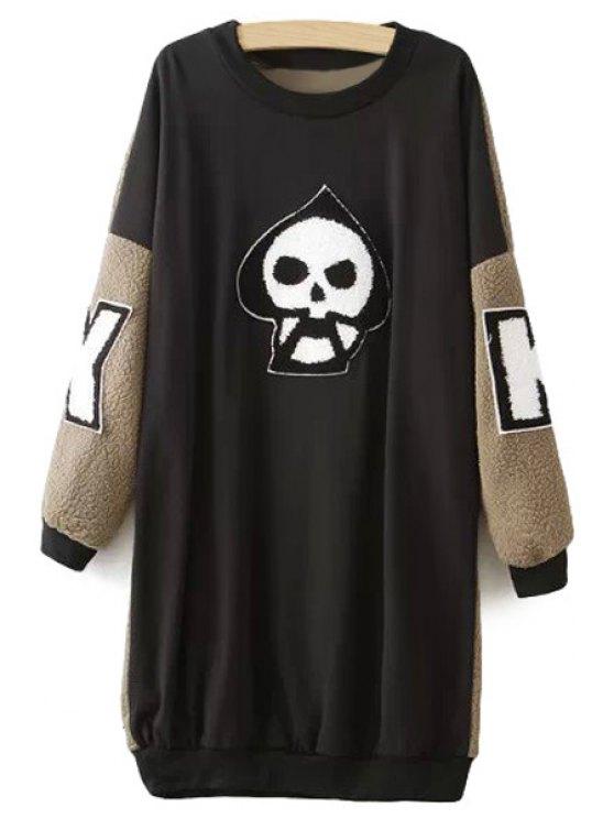 women Skull Pattern Color Block Dress - KHAKI ONE SIZE(FIT SIZE XS TO M)