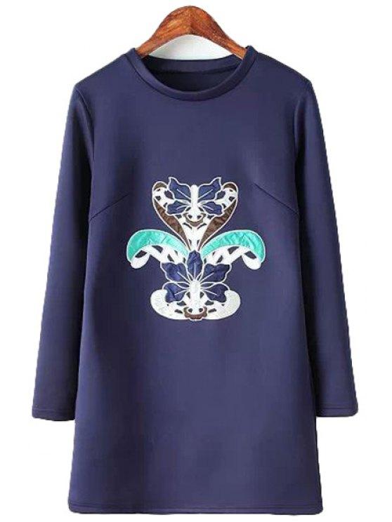ladies Long Sleeve Patch Design Dress - PURPLISH BLUE S