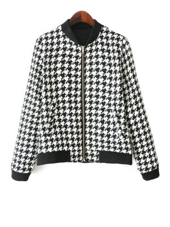 affordable Houndstooth Long Sleeve Jacket - WHITE AND BLACK S