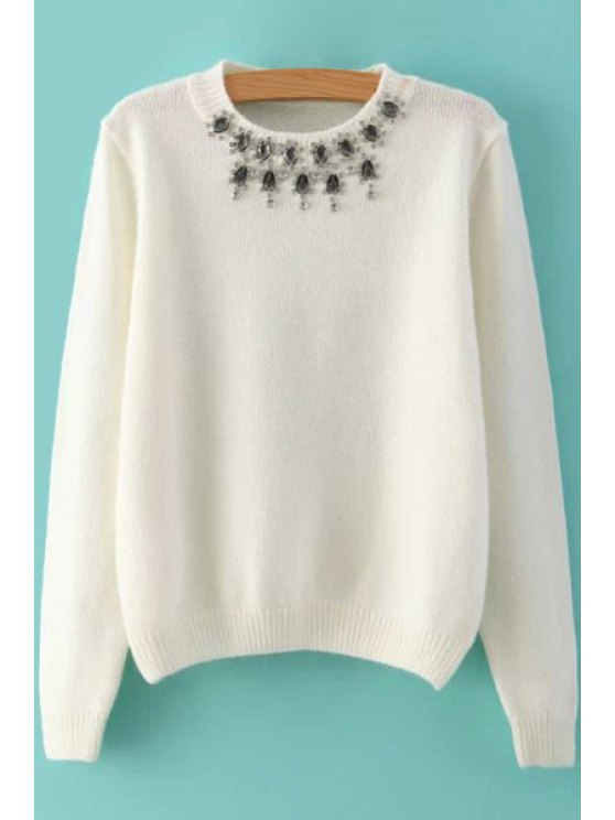 unique Rhinestone Solid Color Sweater - WHITE ONE SIZE(FIT SIZE XS TO M)