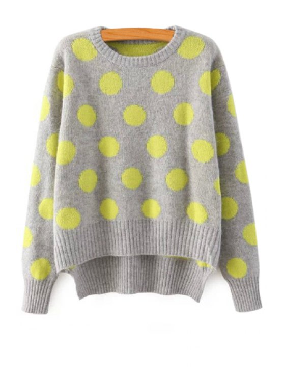 best Polka Dot Pattern Long Sleeve Sweater - GRAY ONE SIZE(FIT SIZE XS TO M)
