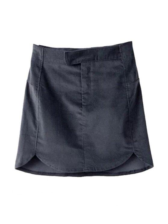 shop Solid Color Corduroy Skirt - BLACK S