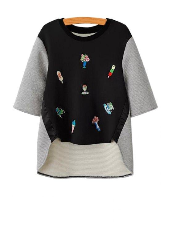 women Embroidery Half Sleeves Sweatshirt - BLACK AND GREY S