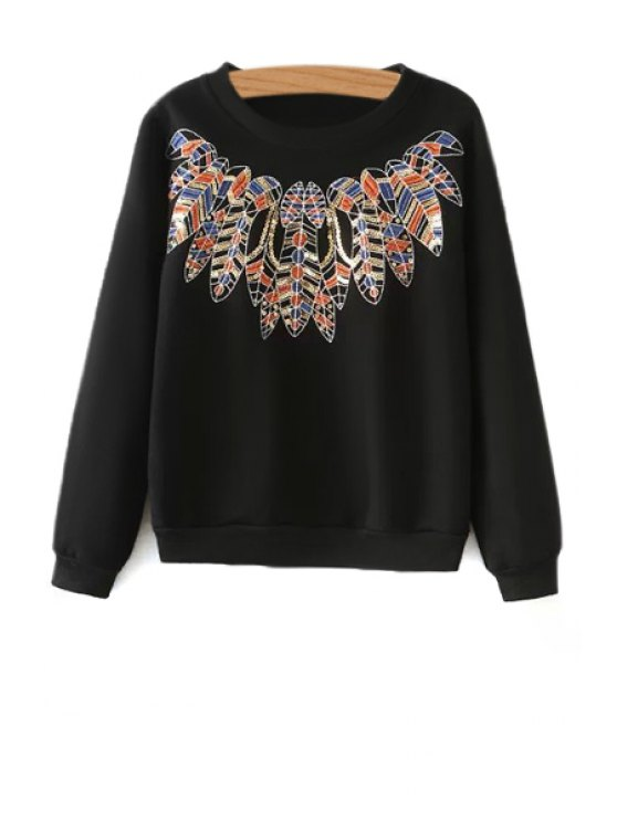 new Leaf Embroidery Long Sleeve Sweatshirt - BLACK ONE SIZE(FIT SIZE XS TO M)