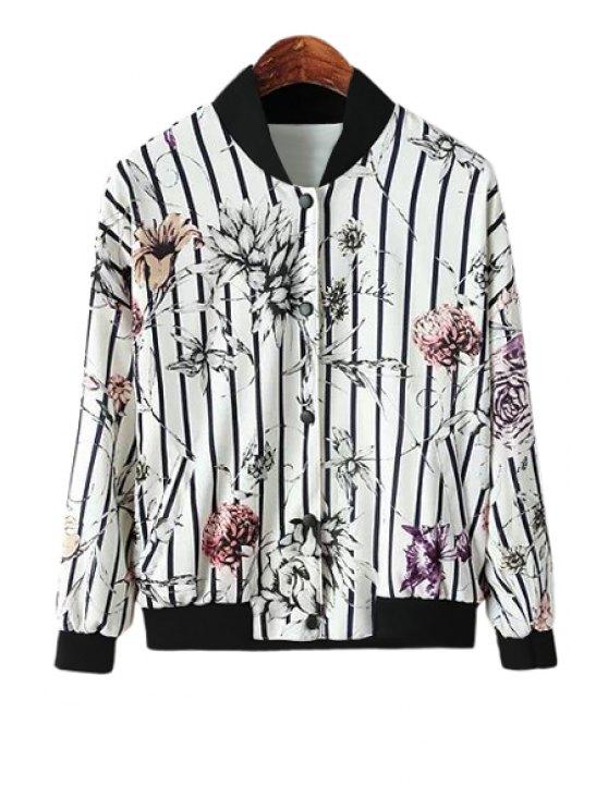 women Floral Print Striped Jacket - WHITE M